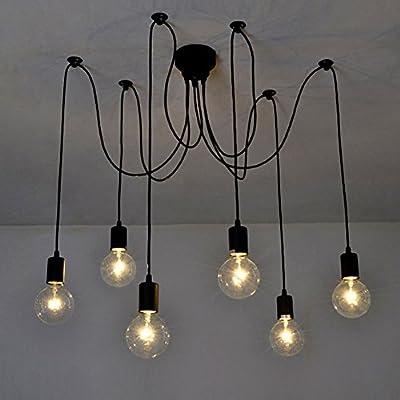 Home Deco Vintage Industrial DIY Lamp Fixture Retro Pendant Light Ceiling Lamp Chandeliers 6/8/10 Lighting Spider Lighting (E27 Bulb Base, Adjustable)
