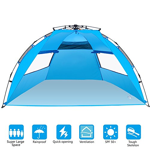 BATTOP 4 Person Instant Beach Tent Sun Shelter - Easy Pop Up Sun Shade for Beach - Deluxe Large for ()