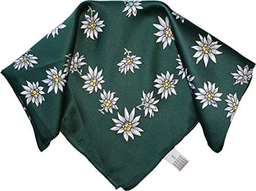 Halstuch Trachtentuch Polyester Edelweiss-muster nikituch 50x50cm 11x Farbtöne, Frabe:Grün