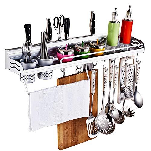 Porta utensilios de cocina Portaherramientas aluminio lateral con barandilla Rack de almacenamiento multifuncional No hay...