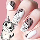 Lovely Sweet Water Transfer 3D Cartoon Black Grey Cute Cat Nail Art Sticker Full Wraps Manicure Decal