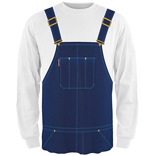 Nerd Costume With Overalls (Halloween Overalls Costume All Over Adult Long Sleeve T-Shirt - 2X-Large)
