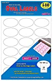 Pack of 540 Permanent Print-To-The-Edge Oval Labels, Laser/InkJet, 1.5 x 2.5-Inches, Glossy White.