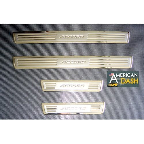 HONDA ACCORD CHROME DOOR SILLS STAINLESS STEEL ACCESSORY SCUFF PLATES TRIM SET 2003 2004 2005 2006 2007