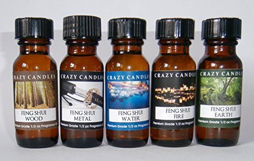 5 Bottles Set, Feng Shui Collection: Wood, Metal, Water, Fire, Earth 1/2 Fl Oz Each (15ml) Premium Grade Scented Fragrance Oils By Crazy Candles ()