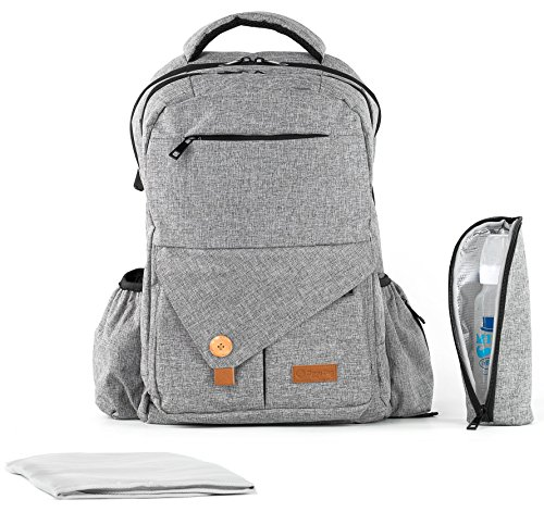 Diaper Bag Backpack | Easy Travel for Active Parents | Max Durability & Storage Capacity | Light Gray Classic Unisex Style | Bonus Change Pad & Insulated Bottle Sleeve | Large Diaper Backpack