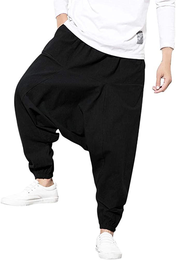 UK Men Casual Sport Jogging Pants Drawstring Wide Leg Loose Sweatpants Trousers