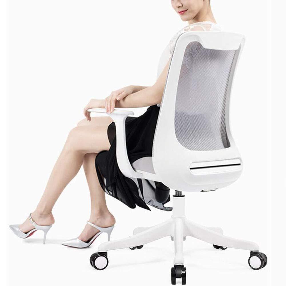 DALL kontorsstol justerbar höjd ergonomisk svängbar datorstol nylon bas konferensstol fast armstöd andas nät (färg: svart) Grått