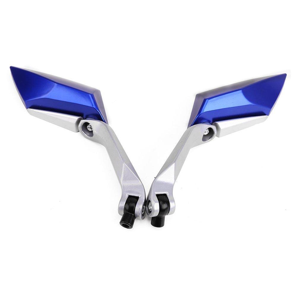 WINOMO Una coppia universale rotazione di 360 gradi vista posteriore moto Moto Scooter alluminio Specchi Specchietti Retrovisore blu