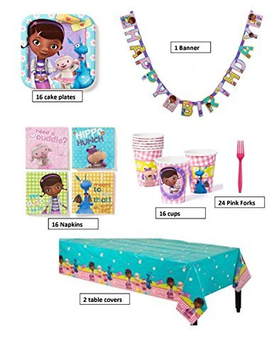 Doc McStuffins Birthday Party Supplies Pack For 16 Guests 1 Banner 2 Table Covers Cups Napkins Plates 24 Forks