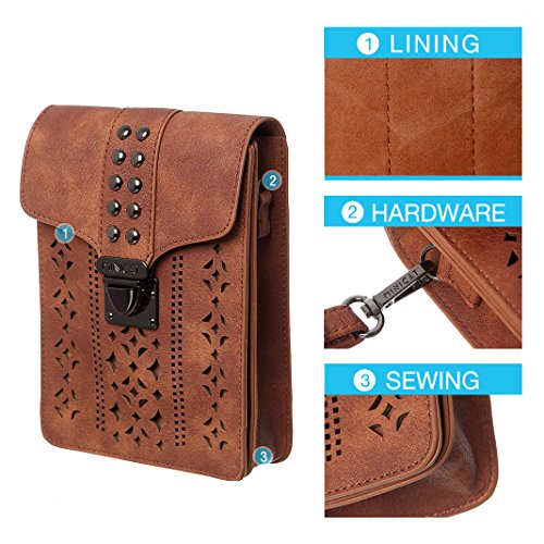Small Cell Women With Wallet Card Purse Bags Phone thicker Brown Blocking rfid Minicat Crossbody Hollow Texture Credit Slots qFtvxnYUU