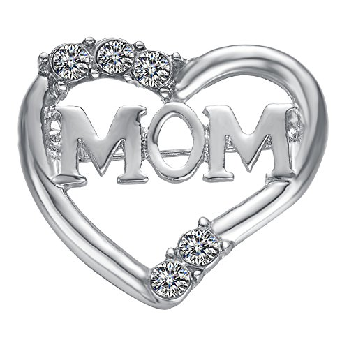 Yoursfs Heart Brooch Pin Mother's Day Gift White Gold Plated with Engraved