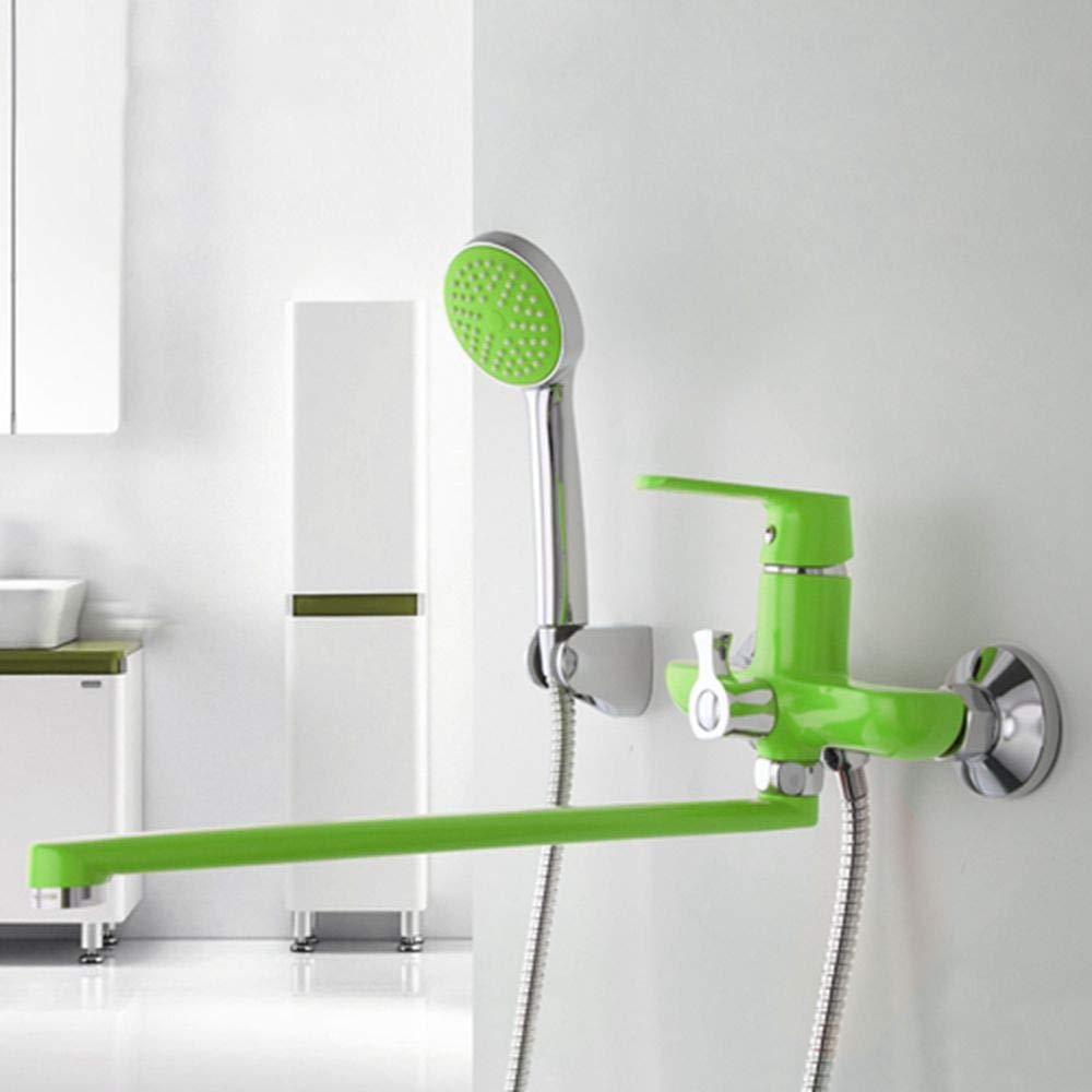 Green Yukun Shower 1 Set of 350Mm Outlet Pipe Shower Faucet Brass Body Paint Green Shower Head,White