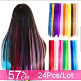 Carina Colored Clip in Hair Extensions 24pcs/lot 20 inch Straight Fashion Synthetic Hairpieces for Party Highlights Multi-Color (24PCS/Multi-Color)