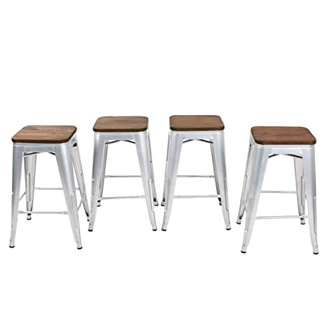 Enjoyable Yongqiang Metal Barstools Set Of 4 Backless Counter Bar Stools With Wooden Seat 26 Silver Unemploymentrelief Wooden Chair Designs For Living Room Unemploymentrelieforg