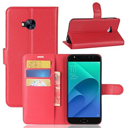 Funda Asus ZenFone 4 Selfie Pro ZD552KL, WolinTek Funda Cartera de Cuero Sintético Cubierta de Tapa del Tirón con Función Soporte y Tarjeta Flip Wallet Case Carcasa para Asus ZenFone 4 Selfie Pro ZD55 rojo