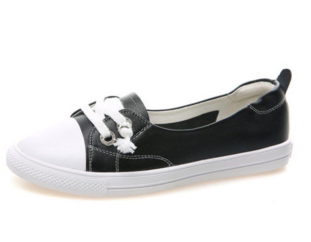 XIE Zapatos Blancos Pequeños de Cuero Femenino Zapatos Perezosos de un Pedal Ocio Estudiantes Versátiles Zapatos Transpirables Zapatos de Cuero Boca Baja Mujeres Zapatos Individuales 34-39, Black, 36 36|black