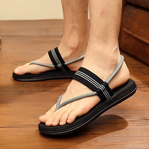 Sunny Sandals Cloth Male Fashion Summer Black Brown Gray Non-Slip Breathable Beach Shoes Slippers Black o9jSEXEJW