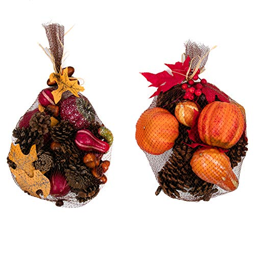 U'Artlines Artificial Autumn Gourds, Pumpkins and Pine Cones Fall Harvest Decorating Kit (Red+Yellow)