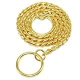 Moonpet P Snake Chain Dog Choke Collar - Heavy Duty for Small Medium Large Dog Breeds - Command Obedience Training Slip Collar (24'', Gold)