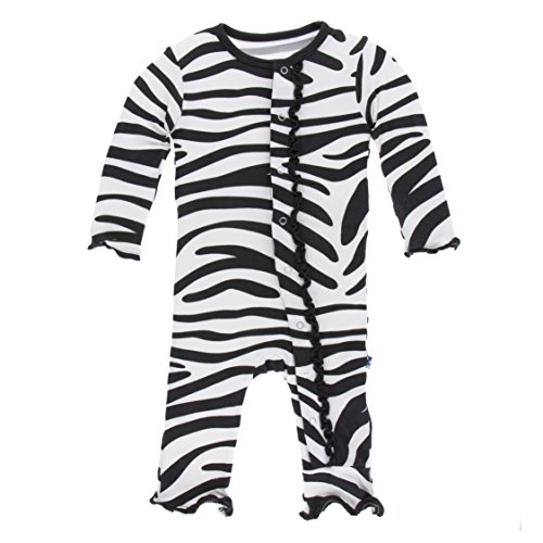 Kickee Pants Little Girls Print Muffin Ruffle Coverall with Snaps - Natural Zebra Print, 3-6 Months