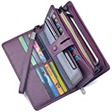 Women's Big Fat Rfid Blocking Leather Wristlets Wallet Organizer Checkbook Holder (Purple)