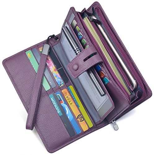 Women's Big Fat RFID Leather Wristlet Wallet Organizer Large Phone Checkbook Holder with Zipper Pocket (Purple)