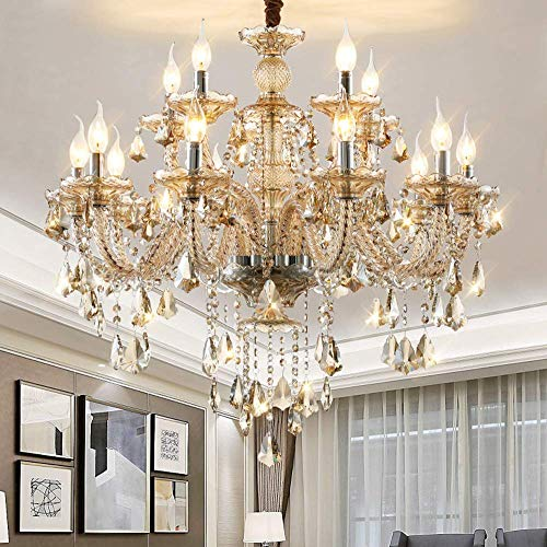 WEERUN LED E12 LED 3 Brightness Cognac Colour Crystal Candle Chandelier Ceiling Lights Fixture Lamp Chandelier Pendant Lights Lighting With 15pcs 5W E12 LED Bulbs (15L(D35.4