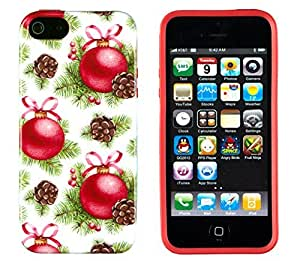iPhone 5 5s Case, DandyCase PERFECT PATTERN *No Chip/No Peel* Flexible Slim Case Cover for Apple iPhone 5 5s - LIFETIME WARRANTY [Red Christmas Tree Balls]