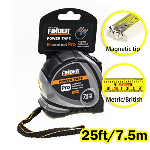 (Finder Magnetic Tape Measure, Measuring Tape Self Lock 25-Foot  (7.5 Meter) Metric and Inches Retractable Measuring Tape with Wrist Strap for Construction, Craft, Home, Carpentry Measurement)