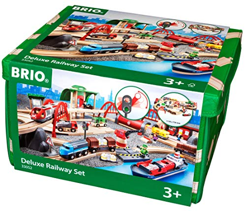 Deluxe Wooden Train Set - Brio World 33052 Deluxe Railway Set | Wooden Toy Train Set for Kids Age 3 and Up