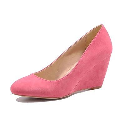 Jumex Damen Keilabsatz Pumps Sommer Schuhe in Kunstleder