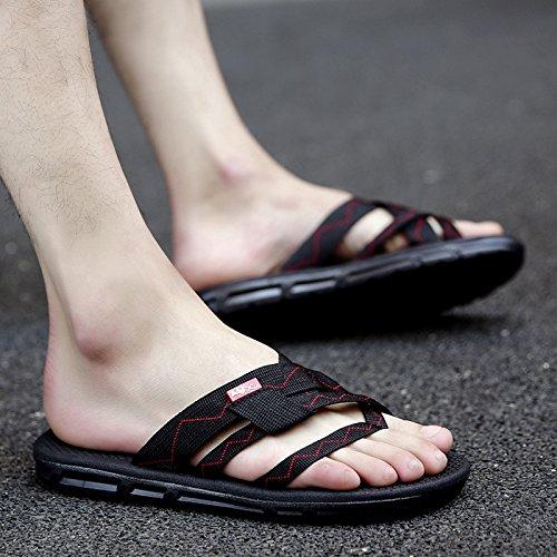 Pantofole Black Sandali AIHUWAI Estate spiaggia Uomo Outdoor Uomo Sandali Flip esterni Estate Sandali Antiscivolo C Flop da Sandali Uomo wXXqBUF