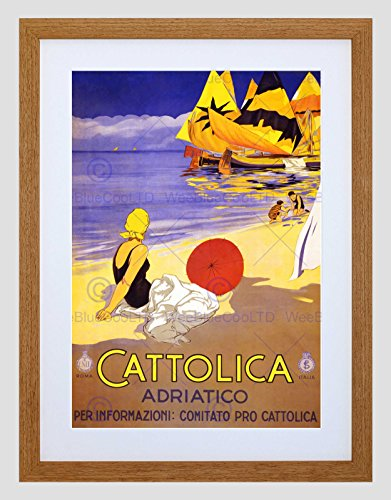 - TRAVEL CATTOLICA ADRIATIC SEA BEACH BOAT SUN ITALY VINTAGE FRAMED PRINT B12X1539