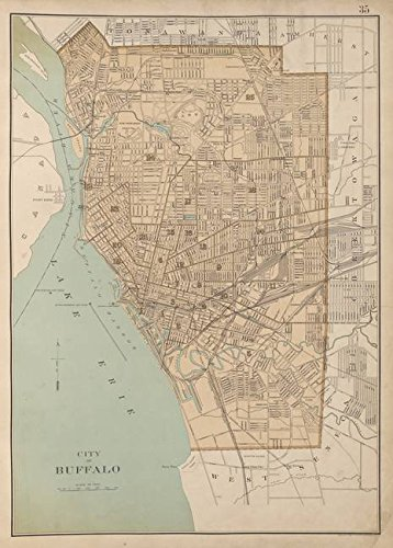 Imagekind Wall Art Print Entitled Vintage Map of Buffalo NY (1895) by Alleycatshirts @Zazzle | 11 x ()