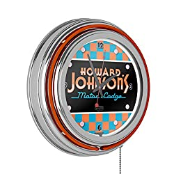 Howard Johnson Checkered Chrome Double Ring Neon Clock