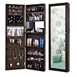 Pesters Space Save Jewelry Cabinet, Wooden Lockable Wall Door Mounted Jewelry Holder Organizer Armoire with Mirror and Telescopic Board (Black)