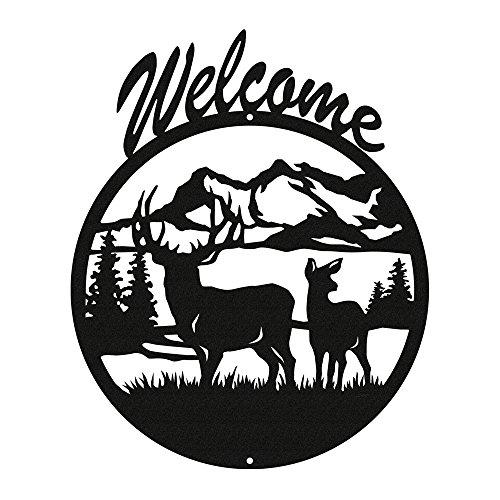 DEER Black Metal Welcome Sign ~NEW~ ()