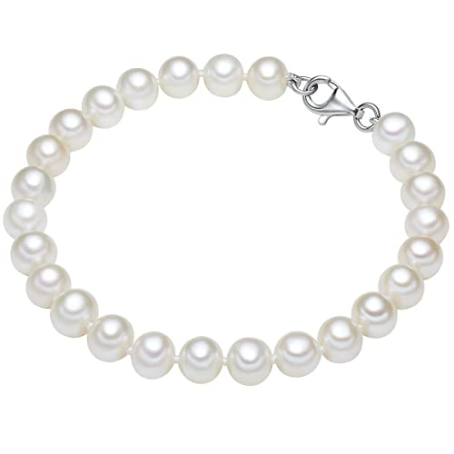 Valero Pearls Classic Collection Damen-Armband Hochwertige Süßwasser-Zuchtperlen in ca.  7 mm Oval w...