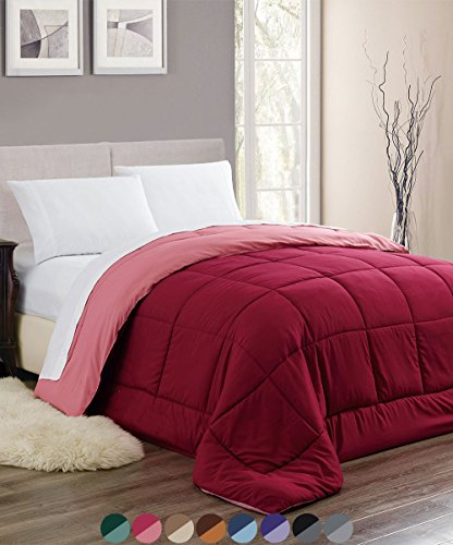 Woven Trends Sleep Elegance All-Season Down Alternative Comforter - Stitched Quilted Reversible Hypoallergenic Reversible Comforter (Full/Queen, Burgundy)