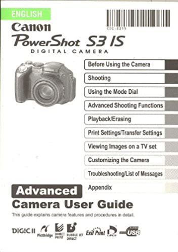 canon powershot digital s3 is advanced user instruction manual rh amazon com canon powershot s3is advanced user manual canon powershot s3 is advanced guide