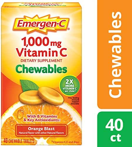 Emergen-C Chewable (40 Count, Orange Blast Flavor) Dietary Supplement Chewable Tablet with 1000mg Vitamin C & Vitamin B6, Energy, Antioxidants