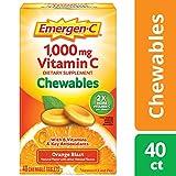 Emergen-C Chewable (40 Count, Orange Blast Flavor) Dietary Supplement Chewable Tablet with 1000mg Vitamin C & Vitamin B6, Energy, Antioxidants