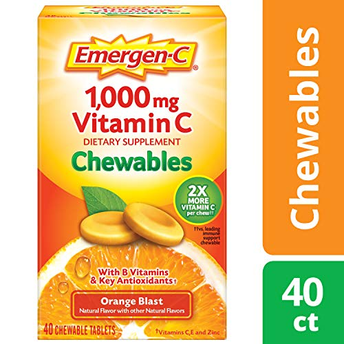 Alacer Flavored Vitamins - Emergen-C Chewable (40 Count, Orange Blast Flavor) Dietary Supplement Chewable Tablet with 1000mg Vitamin C & Vitamin B6, Energy, Antioxidants