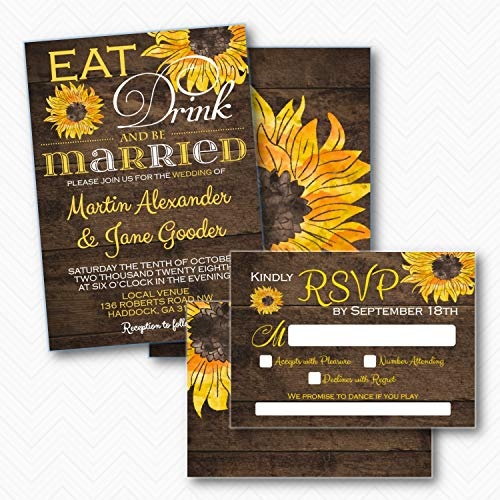 Rustic Sunflower Wedding Invitation set with RSVP | Envelopes Included ()