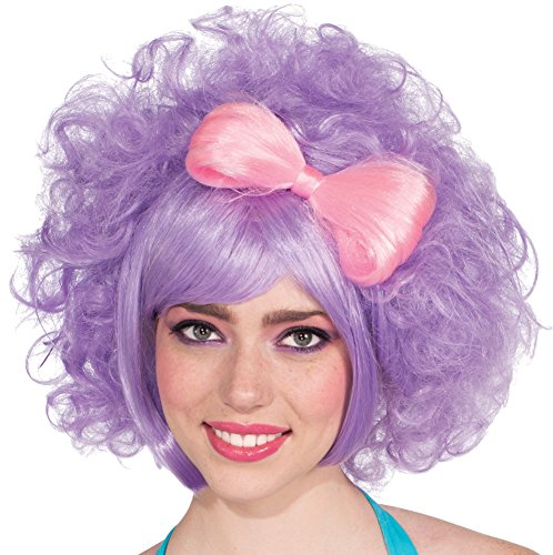 Mod Doll Costumes (Rubie's Costume Pastel Cutie Doll Wig With Bow, Lilac/Pink, One Size)