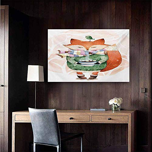 duommhome Watercolor Modern Frameless Painting Cute Little Fox