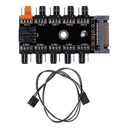 Black 1 to 10 Channel Hub SATA Interface Power Splitter For 12V 4 Pin CPU Fan