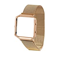 For Fitbit Blaze Band With Metal Frame, Wearlizer Milanese Loop Smart Watch Band Replacement Stainless Steel Bracelet Strap for Fitbit Blaze - Rose Gold Small