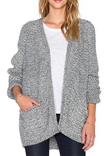 Plaid&Plain Women's Casual Open Front Long Sleeve Pocket Knit Cardigan Sweater Grey Free Size
